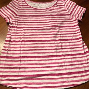 TALBOTS Pink Striped T SHIRT Large L Cotton Summer